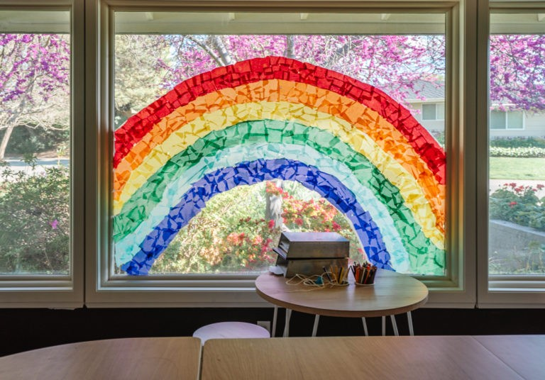 Tissue Paper Rainbow Stained Glass Window project with kids