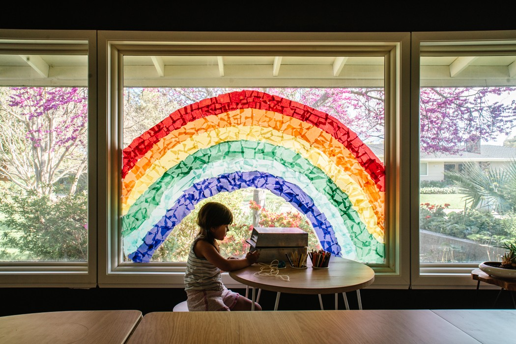 Tissue Paper Rainbow Window project with kids